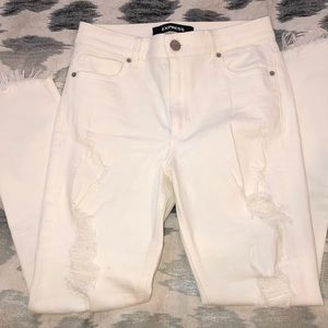 Express Ankle Legging High Rise White Ripped Jeans